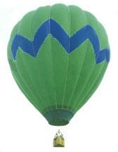 Picture of bright green balloon with a blue zig zag